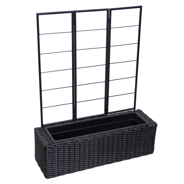 Wicker Planter with Trellis, black