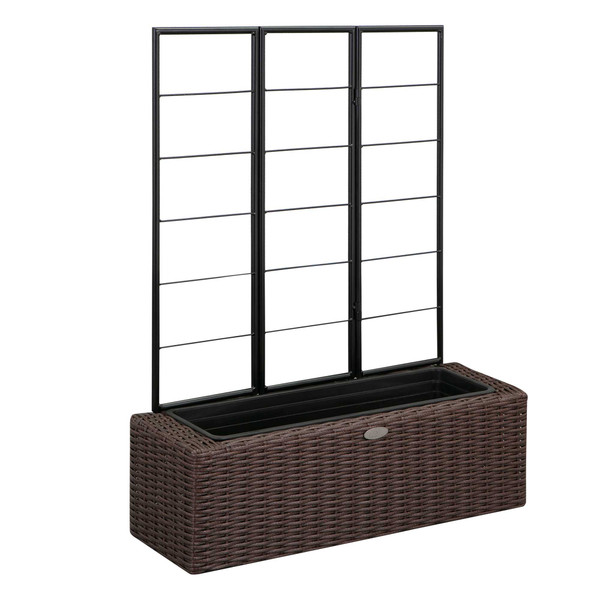 Wicker planter with trellis