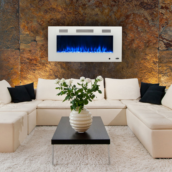 Premium white electric fireplace