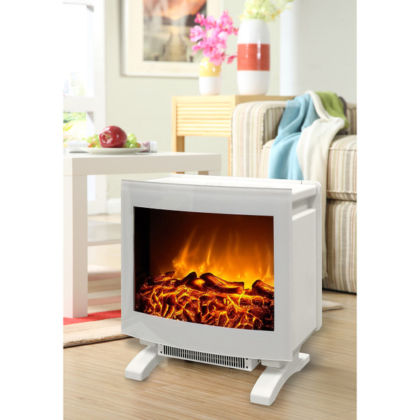 Curved Verona fireplace, white