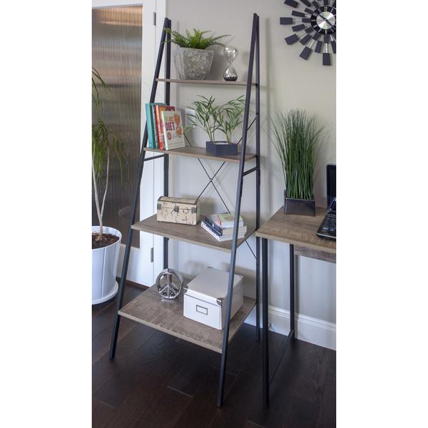 Industrial Look Ladder Shelf