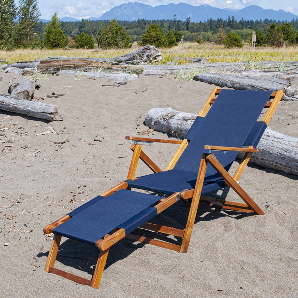 Blue folding beach chair