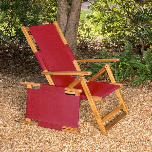 Red folding beach chair